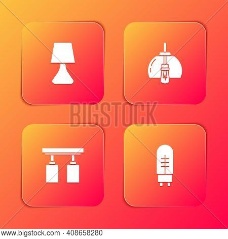 Set Table Lamp, Chandelier, Led Track Lights Lamps And Light Emitting Diode Icon. Vector