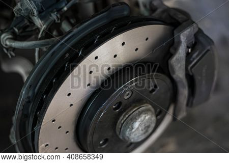 Detail Of A Perforated Sports Car Disc Brake 2