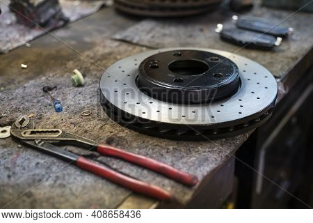 Detail Of A Perforated Sports Car Disc Brake 4