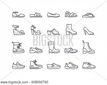 Shoes Icon Collection. High Heels Sandal, Boots, Hiking Footwear, Sneakers And Others. Set Of Minima