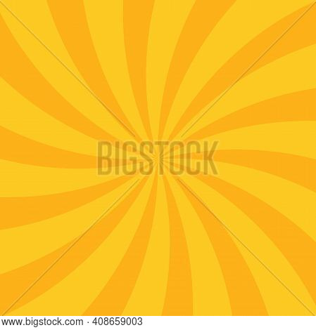 Sunlight Wide Horizontal Background. Orange Color Burst Background. Vector Illustration. Sun Beam Ra