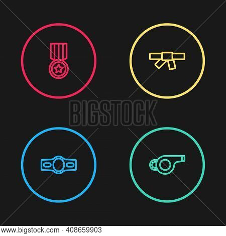 Set Line Boxing Belt, Whistle, Black Karate And Medal Icon. Vector