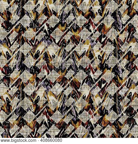 Seamless Sepia Grunge Geometric Print Texture Background. Distressed Fabric Pattern Textile Material