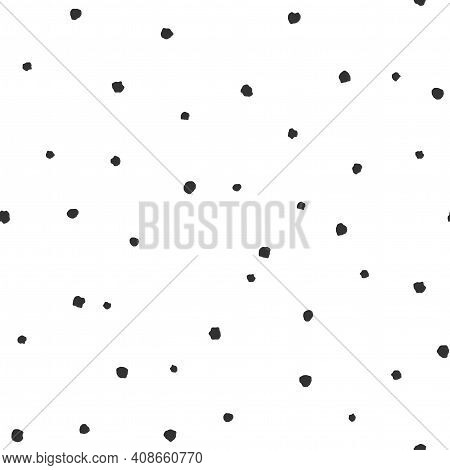 Seamless Abstract Pattern Of Little Black Shabby Dots Or Spots On White. Hand Drawn, Offhand Style.