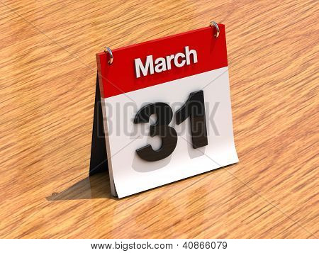 Calendar On Desk - March 31St
