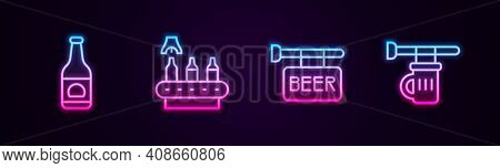 Set Line Beer Bottle, Conveyor Band, Beer, Street Signboard With And Signboard Glass Of. Glowing Neo