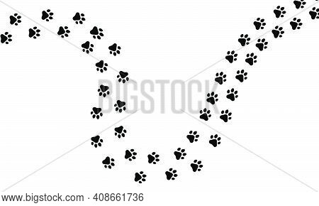 Paw Trail Of Animal Cat Or Dog Print Pattern Footpath. Print Paw Walking Wildlife Mark Isolated Whit