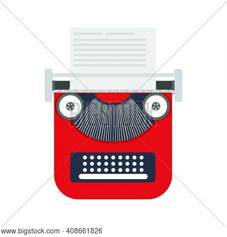 Typewriter Paper Vector Illustration Retro Keyboard Type Equipment Icon. Antique Typewriter Office E