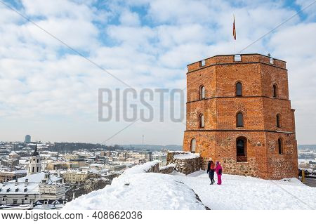 Gediminas Tower Or Castle, The Remaining Part Of The Upper Medieval Castle In Vilnius, Lithuania Wit