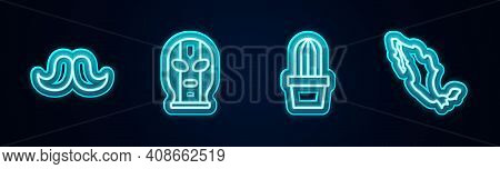 Set Line Mustache, Mexican Wrestler, Cactus Or Succulent In Pot And Map Of Mexican. Glowing Neon Ico
