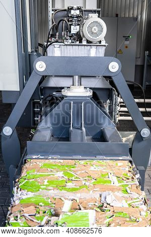 Paper Recycling Truck And Forklift Loading Old Papers