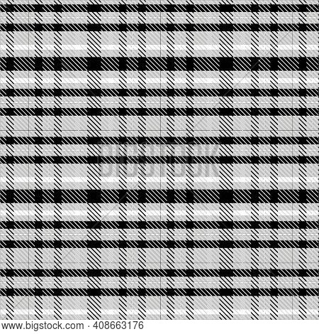Black and White Illustration of Plaid Texture Background.