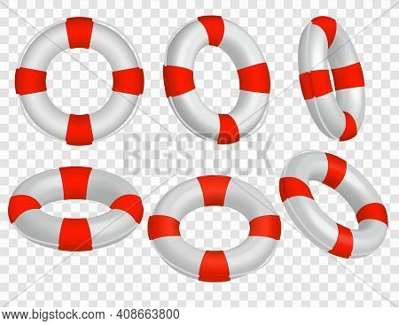 Set Of Sic Realistic Life Buoy Icons In Red And White Over A Transparent Background For Design Eleme