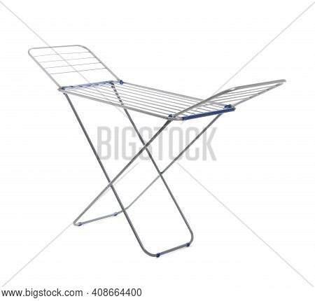 Unfolded Clothes Drying Rack Isolated On White