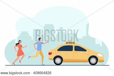 Man And Woman Running After Taxi In Hurry. Car, City, Vehicle Flat Vector Illustration. Transportati