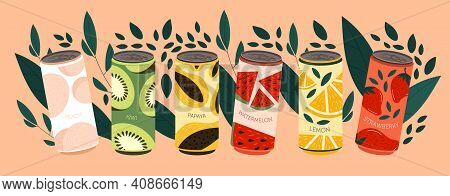 Various Soda Beverages. Set Of Drinks In Aluminium Cans. Sweet Carbonated Water With Different Fruit