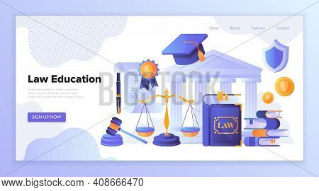 Concept Of Law, Jurisprudence, Legal Learning With Stacked Books, Scale, Document, Gavel, Graduation