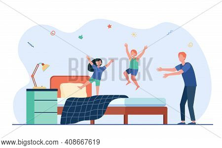 Tired Father Looking At Kids Jumping On Bed. Dad, Fun, Noise Flat Illustration. Entertainment And Fa