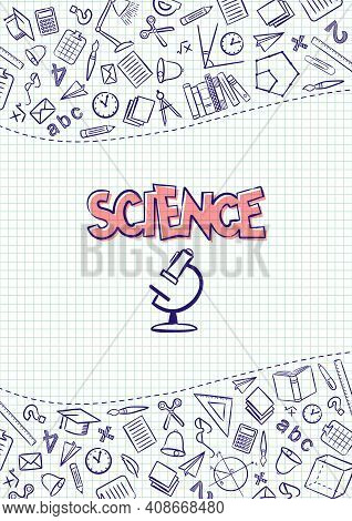 Science. Cover For A School Notebook Or Science Textbook. Hand-drawn School Objects On A Checkered N