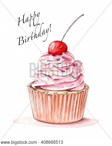 Cute Colorful Cupcake With Cherry. Birthday Greeting Card.