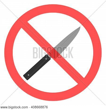 Illustration Prohibited Knife In Red Crossed Out Circle On White Background