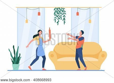 Woman With Rolling Pin Protecting From Drunk Man. Home, Spouse, Bottle Flat Vector Illustration. Alc
