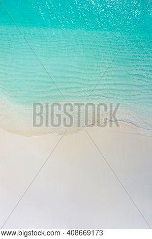 Calm Sea Beach Aerial View. Tropical Island Beaches And Sea Shore Top View. Drone Perspective Beach