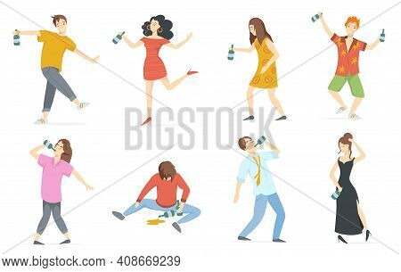 Happy Drunk People Flat Set For Web Design. Cartoon Drunken Characters With Wine Bottles Isolated On