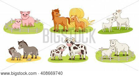 Collection Of Cute Domestic Animals And Their Babies. Big Cartoon Set Of Farm Animals With Mom And B