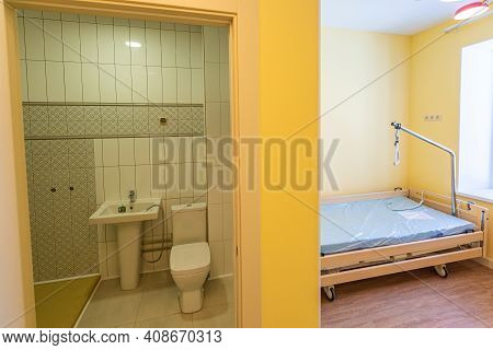 Clean Empty Hospital Or Room With Bathroom That Is Ready For One Patient