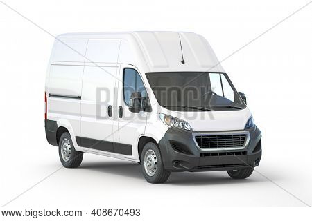 White commercial delivery van isolated on white, 3d illustration