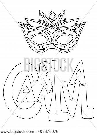 Mardi Gras Minimal Poster Stock Vector Illustration. Carnival Lettering Word And Venetian Mask Color