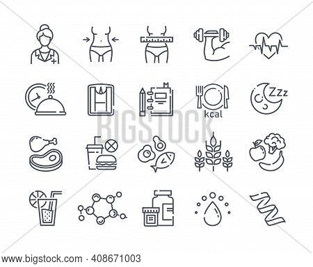 Large Set Of Line Black And White Drawn Diet Icons Depicting Healthy Fresh Food And Takeaways, Tape
