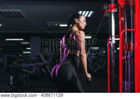 Fit Well-trained Woman Workout Triceps Lifting Weights In Gym. Athletic Sexy Woman Doing Exercise Us