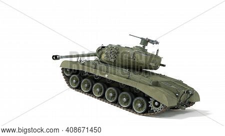 Tank Of The Us Army World War Ii And Korean War. Gun Depression. Isolated Background 3d Rendering.