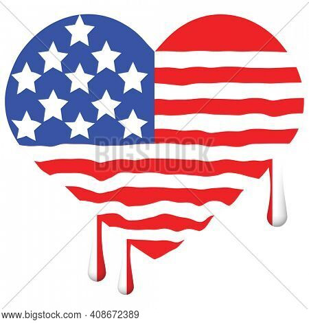 Dripping Paint Heart Shaped Americn Flag with Clipping Path Isolated on White.