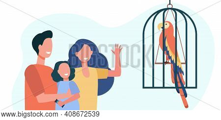 Happy Family With Kid Watching Parrot In Cage. Bird, Daughter, Feather Flat Vector Illustration. Exo