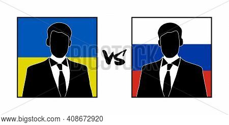 The Image Of Silhouettes Of Representatives Of The Ukraine And Russia, And Their Confrontation Or Di