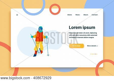 Person Practicing Mountain Skiing. Skier Wearing Mask, Holding Poles Flat Vector Illustration. Vacat