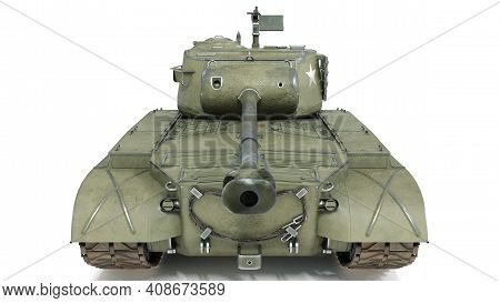 First Operational Heavy Tank Of The Us Army World War Ii And Korean War. Front View On Isolated Back
