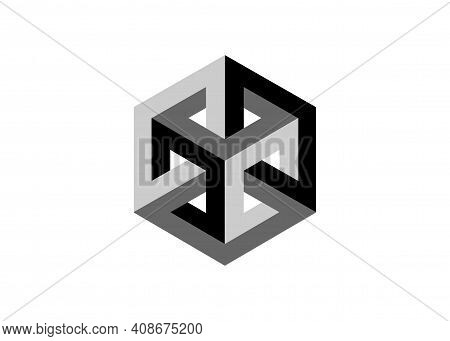 Optical Illusion, Impossible Cube, Isometric Drawing. Logo Abstract Infinite Impossible Loop Vector