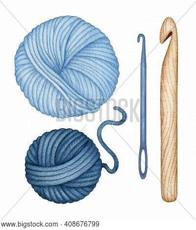 Watercolor Knitting, Crocheting Tool Set. Hand Drawn Wooden Crochet Hook, Needle, Yarn Wool Skeins.