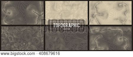 Set Of Topographic Map Contour Backgrounds. Topo Map With Elevation. Contour Map Vector. Geographic