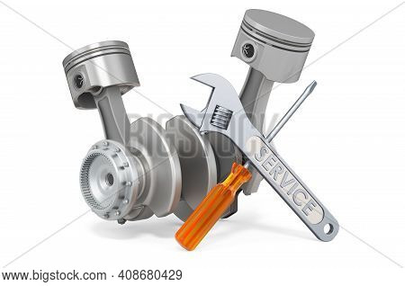 Service And Repair Of Engine Pistons, 3d Rendering Isolated On White Background