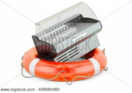 Repair And Service Of Refrigerated Display Case, Showcase. 3d Rendering Isolated On White Background