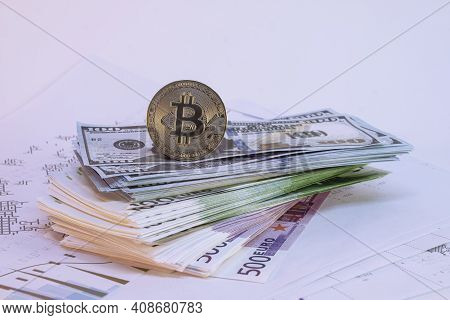 Bundles Of Dollar And Euro Bills On A Light Background.