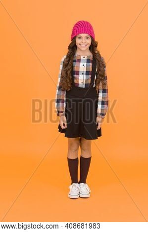Hipster Girl. Kids Clothes. School Fashion. Feeling Comfy. Girl Wear Fashionable Outfit. Black Dress