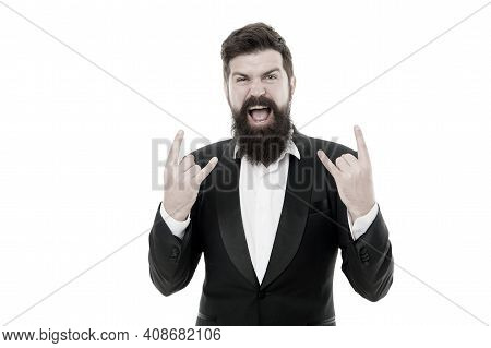 True Rocker. Facial Hair And Grooming. Fashion Model With Long Beard And Mustache. Business People F