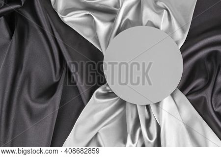 Circle Platform Podium On Elegant Black And Light Gray Color Background With Drapery And Wavy Folds
