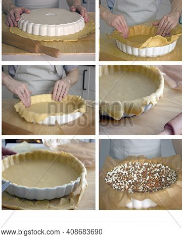 The Recipe Is A Step-by-step Instruction For Making A Dough Crust For Making A Homemade Pie. Collage